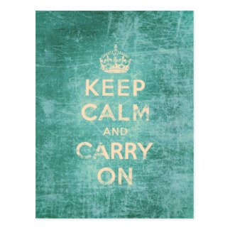 Vintage keep calm and carry on postcard