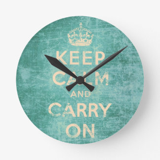 Vintage keep calm and carry on round clock