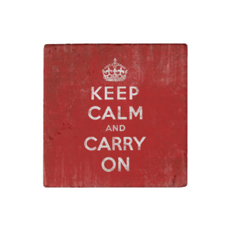 Vintage Keep Calm and Carry On Stone Magnet