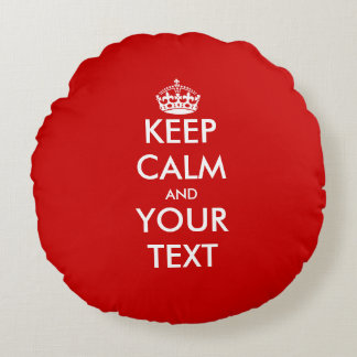Vintage keep calm and your text round throw pillow