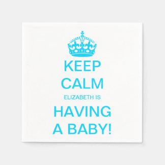 Vintage Keep Calm Blue Boy Baby Shower Disposable Serviettes