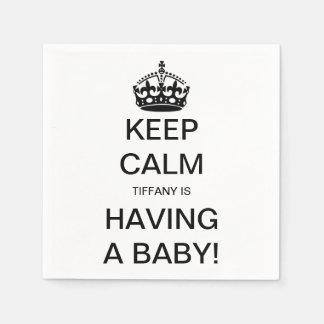 Vintage Keep Calm Gender Neutral Baby Shower Paper Napkins