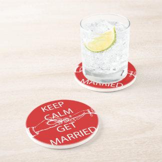 Vintage KEEP CALM  GET MARRIED Drink Coaster