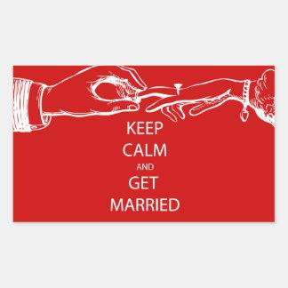 Vintage KEEP CALM  GET MARRIED Rectangular Sticker