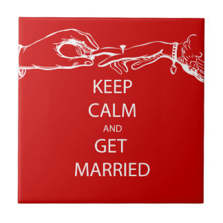 Vintage KEEP CALM  GET MARRIED Small Square Tile