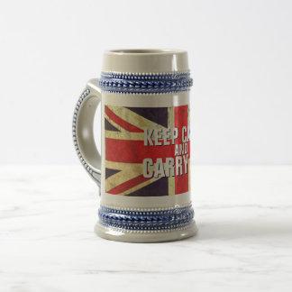 Vintage KEEP CALM  UK Flag GIFTS Beer Stein