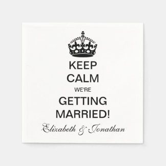 Vintage Keep Calm We're Getting Married! Disposable Napkin
