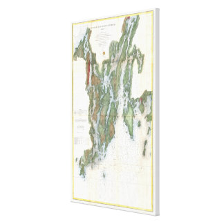 Vintage Kennebec and Sheepscot River Map (1862) Canvas Print