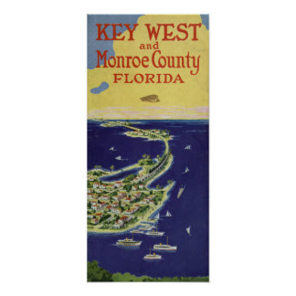 Vintage Key West Monroe County Florida Poster
