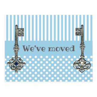 Vintage Keys Blue and White Change of Address Postcard
