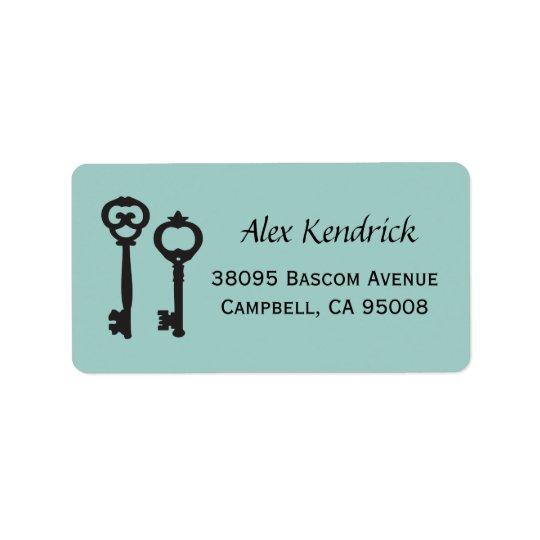 Vintage Keys Labels - Mint Blue