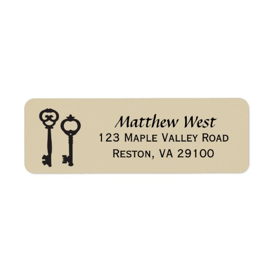 Vintage Keys New Home Address Label