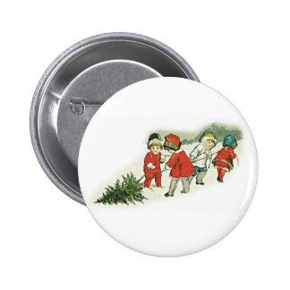 Vintage Kids and Christmas Tree 6 Cm Round Badge