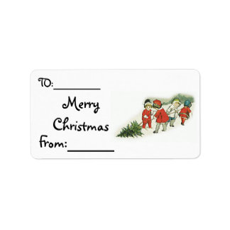 Vintage Kids and Christmas Tree Address Label
