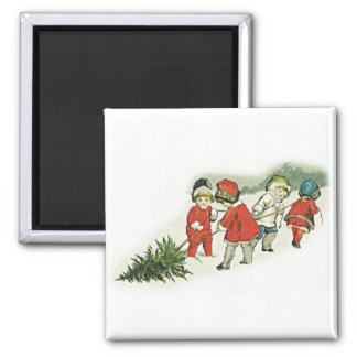 Vintage Kids and Christmas Tree Fridge Magnets