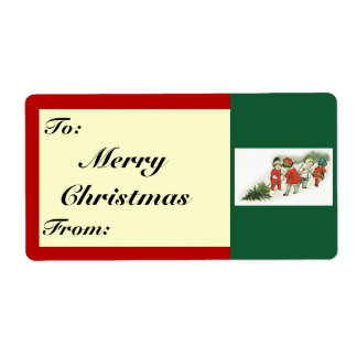 Vintage Kids and Christmas Tree Shipping Label
