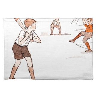 Vintage Kids Boys Baseball Game Placemat