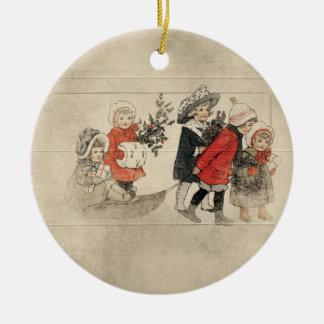vintage kids christmas tree round ceramic decoration