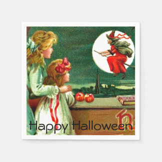 Vintage Kids Witch Moon Halloween Party Paper Napkin