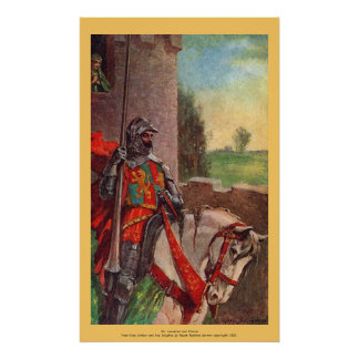 Vintage - King Arthur - Sir Lancelot and Elaine Poster