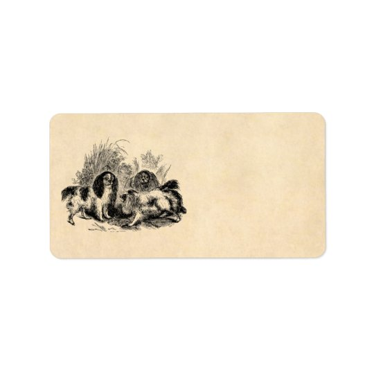 Vintage King Charles Spaniel Dog 1800s Spaniels Address Label