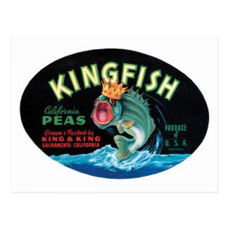 Vintage Kingfish Peas Crate Label Postcard