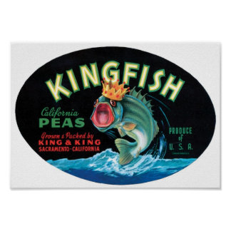 Vintage Kingfish Peas Crate Label Poster