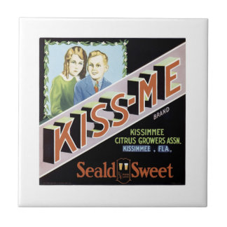 Vintage Kiss-me Seald Sweet Fruit Crate Label Small Square Tile
