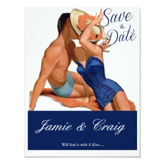 Vintage Kissing 1950's Save the Date Post Card 11 Cm X 14 Cm Invitation Card