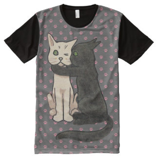 Vintage Kissing Cats Pink Paw Print Pattern All-Over Print T-Shirt