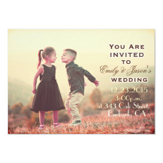 Vintage kissing Kids Under Sun Wedding Invitation