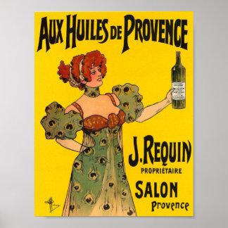 Vintage Kitchen Decor French Label Olive Oil Poster