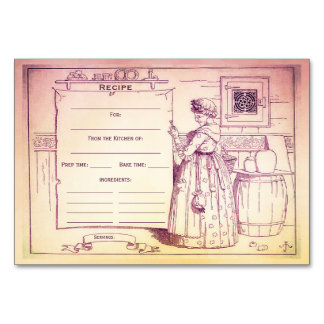 Vintage Kitchen Old Mother Hubbard Recipe Card Table Cards