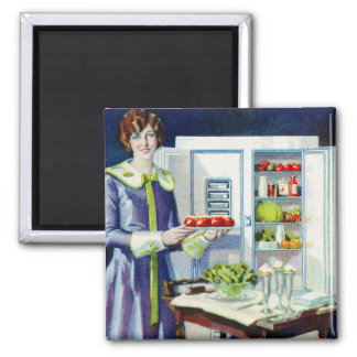 Vintage Kitsch 20s Refrigerator Fridge Icebox Square Magnet