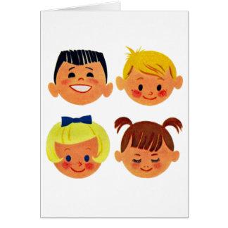 Vintage Kitsch 60s Cartoon Happy Face Kids Greeting Card
