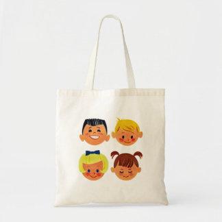 Vintage Kitsch 60s Cartoon Happy Face Kids Budget Tote Bag
