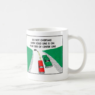 Vintage Kitsch 60s Drivers Ed Manual Passing Cars Coffee Mugs