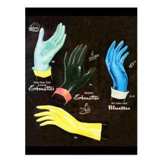 Vintage Kitsch 60s Rubber Gloves Cleaning Postcard