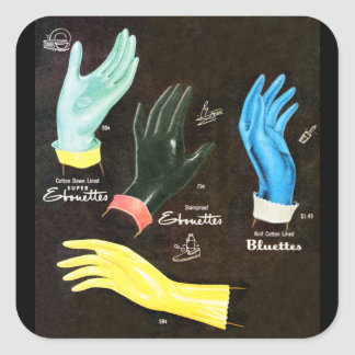 Vintage Kitsch 60s Rubber Gloves Cleaning Square Sticker