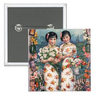 Vintage Kitsch Asian Advertisement Girls 15 Cm Square Badge