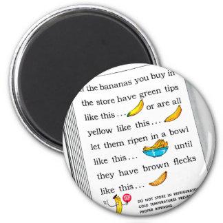 Vintage Kitsch Bananas Banana Facts 6 Cm Round Magnet