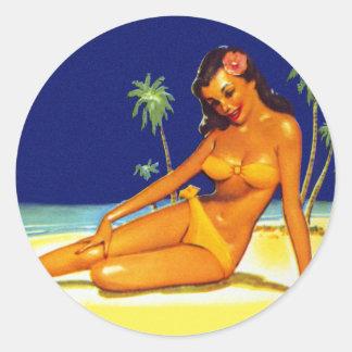 Vintage Kitsch Bikini Pin up Pinup girl Classic Round Sticker