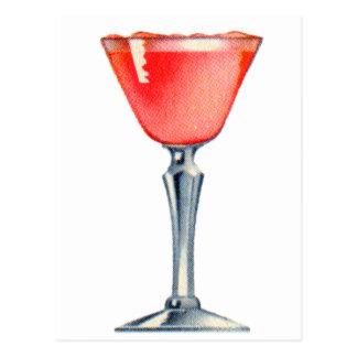 Vintage Kitsch Booze Cocktail Pink Lady Postcard