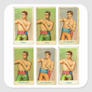 Vintage Kitsch Boxing Cigarette Cards from 1900s Square Sticker
