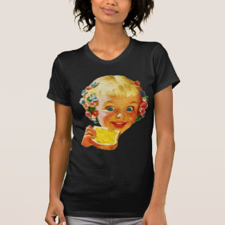Vintage Kitsch Butter Loving Little Girl Ad Art Tee Shirts