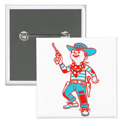 Vintage Kitsch Cartoon Cowboy Kid Boy Button