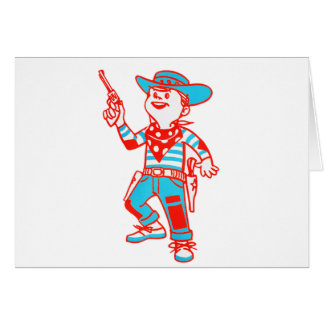 Vintage Kitsch Cartoon Cowboy Kid Boy Card