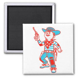 Vintage Kitsch Cartoon Cowboy Kid Boy Fridge Magnet