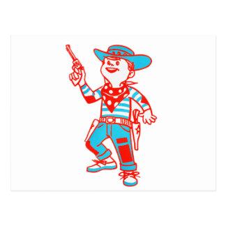Vintage Kitsch Cartoon Cowboy Kid Boy Post Cards