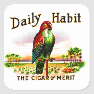 Vintage Kitsch Cigar Box Parrot Daily Habit Label